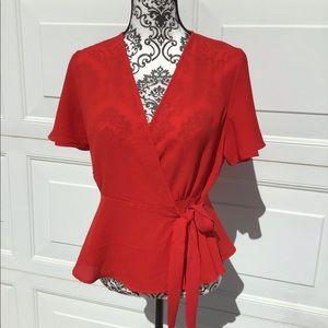 Monteau red wrap blouse